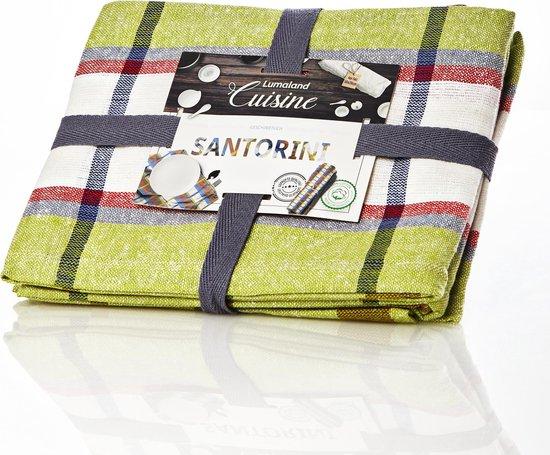 Lumaland - Theedoeken - Santorini serie - 4 kleuren - set van 4 - 100% katoen - 50x70cm - Groen