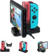 Nintendo Switch Oplaadstation - Quad Charger - Plaats voor 4 Controllers - Nintendo Docking Station - Pro Controller Tegelijk met 2 Originele Controllers - Snelle Oplader (2 uur) - Zwarte Kleur