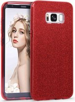 Samsung Galaxy S8 Plus Hoesje - Glitter Backcover - Rood