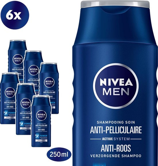 NIVEA MEN Anti-Roos Power Shampoo - 6 x 250 ml - Voordeelverpakking