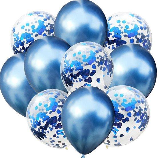 Confetti ballonnen Blauw set 10 stuks!  30 centimeter   Blauwe confetti ballonnen  Verjaardag of andere feesten
