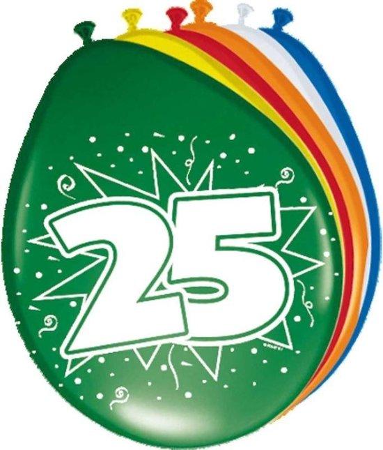 8x stuks Ballonnen versiering 25 jaar