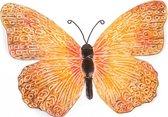 Metalen vlinder oranje/zwart 39 cm  tuin decoratie - Schutting tuindecoratie vlinders - Dierenbeelden