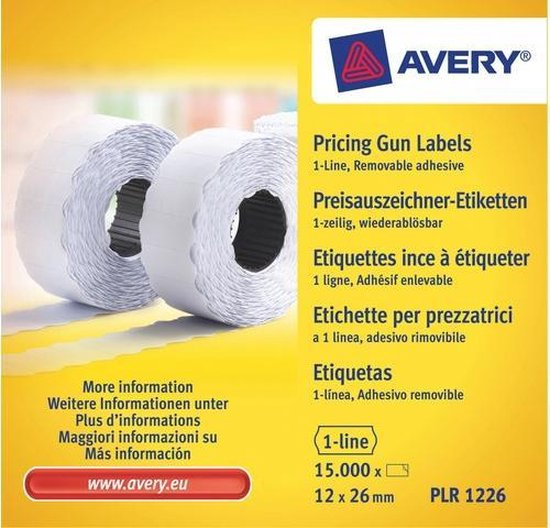 Prijstangetiketten Avery non-permanent 26x12mm wit 10 rol in doos