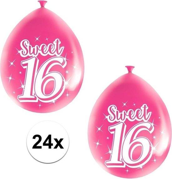 24x Roze Sweet 16 verjaardag ballonnen - 16 jaar verjaardag thema ballonnen