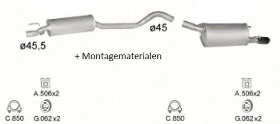 Complete uitlaat Opel Corsa B 1.4 + 1.6 (Set2230)