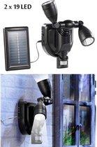 Muurverlichting solar met 2 regelbare spots en PIR