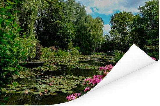 Zomerdag met waterlelies in het water in Monet's tuin in Frankrijk Poster 60x40 cm - Foto print op Poster (wanddecoratie woonkamer / slaapkamer)