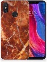 TPU Siliconen Hoesje Xiaomi Mi 8 Marmer Bruin