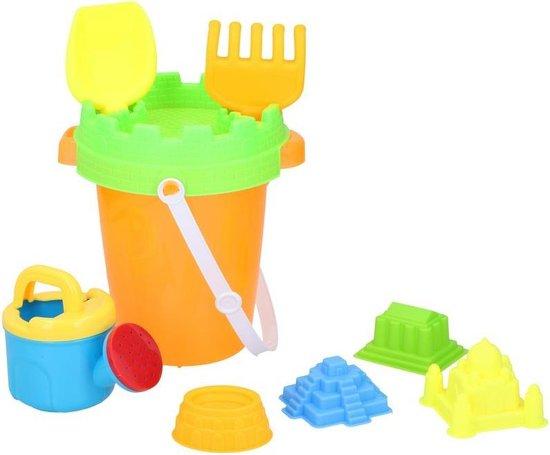 Strand/zandbak speelgoed oranje emmer met vormpjes en schepjes - Zandbakspeeltjes - Strandspeelgoed