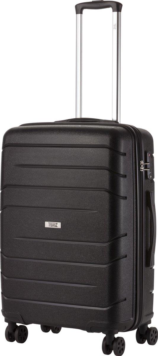 TravelZ Big Bars Reiskoffer - 68cm Koffer met TSA-slot - Dubbele wielen - Zwart