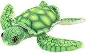 Pluche groene zeeschildpad knuffel 18 cm - Schildpadden zeedieren knuffels - Speelgoed voor kinderen