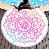 Boho strandlaken Roundie Microvezel Strandkleed Lilac - 155 x 155 cm