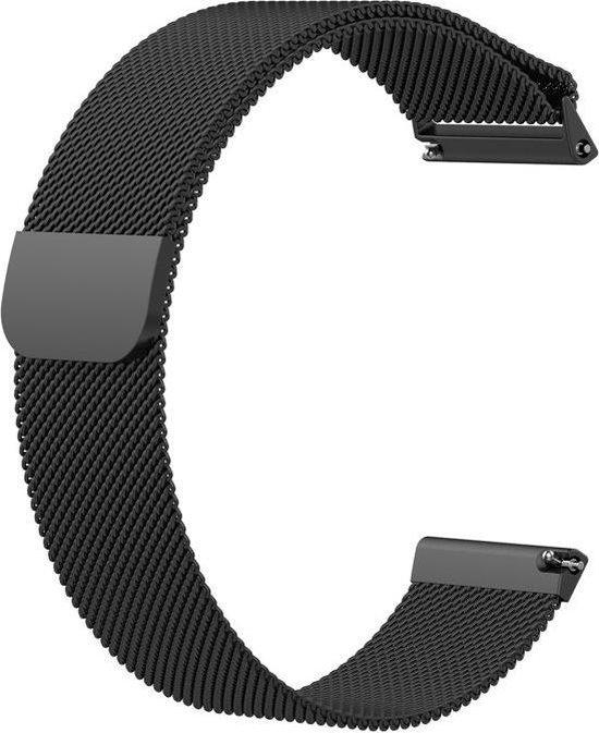 KELERINO. Milanees bandje voor Fitbit Versa (Lite) Magneetsluiting - Zwart