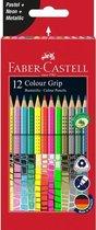 kleurset Faber-Castell GRIP pastel, neon en metallic 12 stuks FC-201569