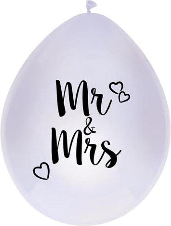 Bruiloft - Mr & Mrs Ballonnen - 6 stuks - Wit