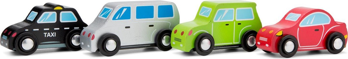 New Classic Toys Houten Voertuigen Set - 4 auto's