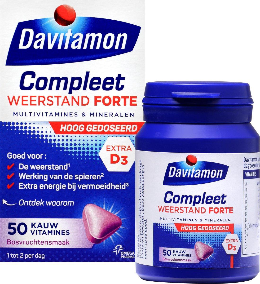 Davitamon Compleet Weerstand Forte met vitamine D - Multivitaminen en mineralen - Kauwtabletten 50 s