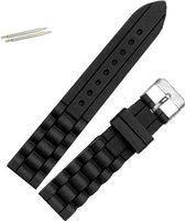Fako® - Horlogebandje - Siliconen - 20mm - Zwart