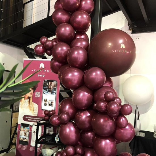 Luxe Chrome Ballonnenset Rood 20 Stuks - Helium Ballonnen Bordeaux Rood Chrome Metallic Ballonnen Feestje Verjaardag Party Wedding Bruiloft