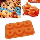 SupplyU Hoogwaardige Siliconen Donutvorm - Donut Bakvorm - Goede Kwaliteit - Anti Kleeflaag - 6 Donuts - Zelf Donuts Bakken - Oranje