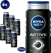 NIVEA MEN Active Clean - 6x 500 ml - Voordeelverpakking - Douchegel