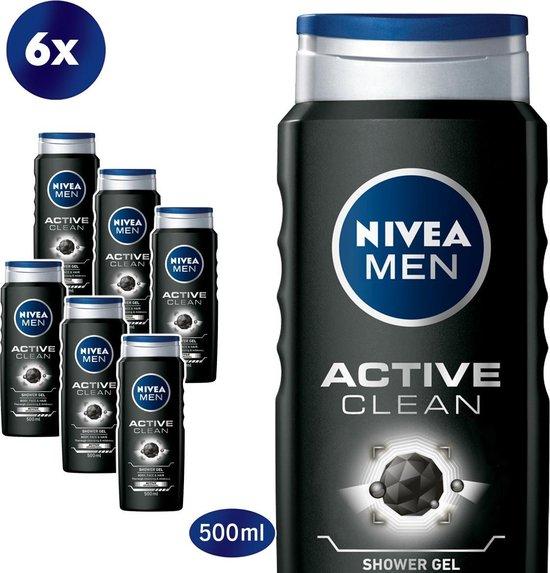 NIVEA MEN Active Clean - 6x 500 ml - Voordeelverpakking - Douchegel