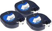 Afbeelding van Dymo Compatible Label Tape 91201 - 12mm X 4m voor Dymo LetraTag LT-100H/LT-100T/LT-110T/QX 50/XR/XM/2000 - 3 stuks