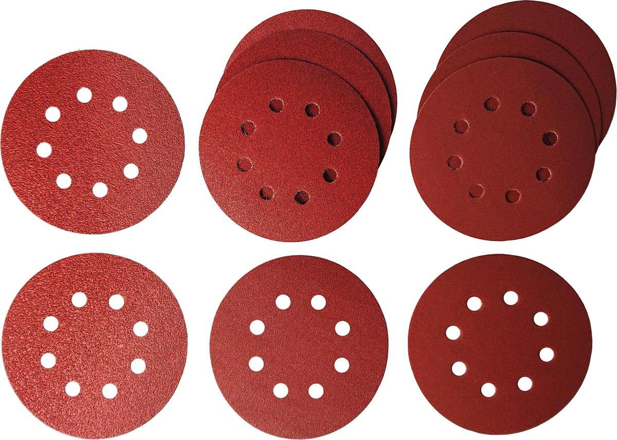 Schuurschijven / schuurpapier Rond - 125 mm diameter - 10 stuks