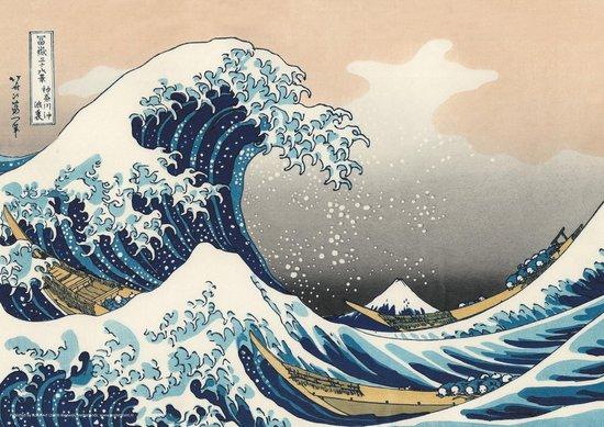 Golf van Kanagawa-Great Wave of Kanagawa-Hokusai poster Luxe uitvoering 50x70cm.
