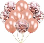 10 confetti ballonnen rosé goud en confetti rosé goud  Ideaal voor feesten en andere gelegenheden