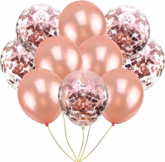 10 confetti ballonnen rosé goud en confetti rosé goud |Ideaal voor feesten en andere gelegenheden