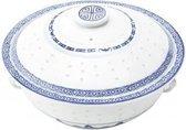 Chinese Soepkom Met Deksel van porselein - Ø23 cm - Wit/blauw