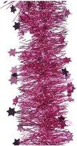 Kerstslinger sterren fuchsia roze 10 cm breed x 270 cm - Guirlande folie lametta - Fuchsia roze kerstboom versieringen