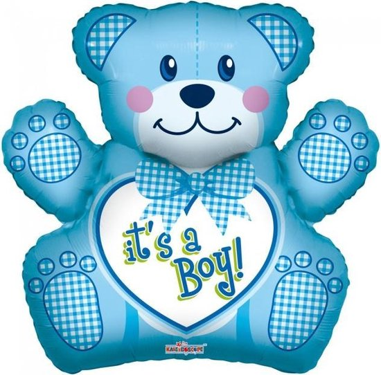 Folie ballon xl blauwe beer it's a boy 91,4 cm groot