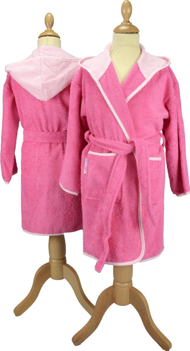 ARTG Boyzz&Girlzz® Kinder Badjas met Capuchon - Roze met Lichtroze - Pink/Light Pink - Maat 116/128 - ARTG Boyzz & Girlzz®