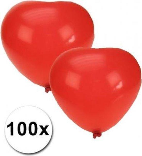 Hartjes ballonnen rood 100 stuks