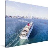 Luchtfoto van een cruiseschip Canvas 40x30 cm - klein - Foto print op Canvas schilderij (Wanddecoratie woonkamer / slaapkamer)