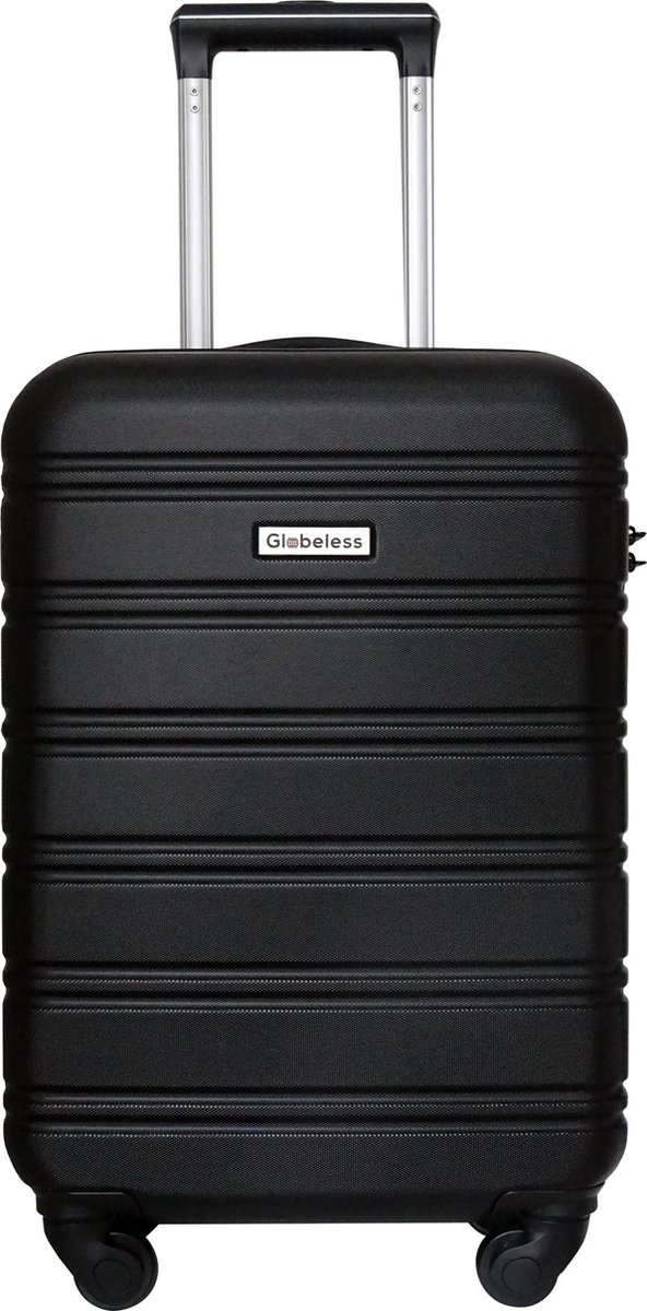 Globeless - handbagage koffer - TSA slot - 55x35x20cm - IATA standaard trolley - Zwart - Globeless