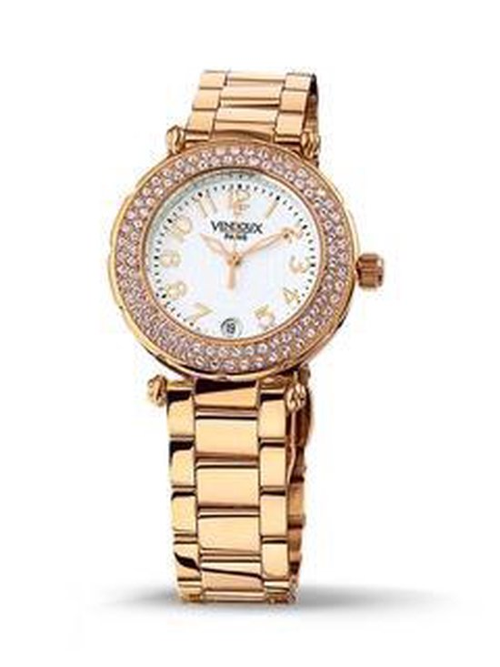 VENDOUX The Opera Rose Gold-White MR31150-02 - Horloge - Dames - Rosékleurig - Ø 34mm