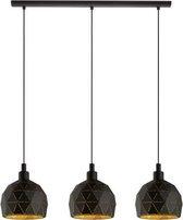 EGLO Roccaforte - hanglamp - 3-Lichts - E14 - zwart/goud