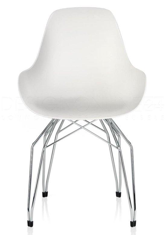 Kubikoff Diamond stoel Dimple closed wit Chroom onderstel