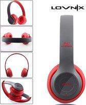 Lovnix P47 | Bluetooth koptelefoon | Draadloze headset | Wireless Headphones | Grijs/Rood