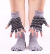 Yoga sokken en handschoenen grijs - Antislip - One size