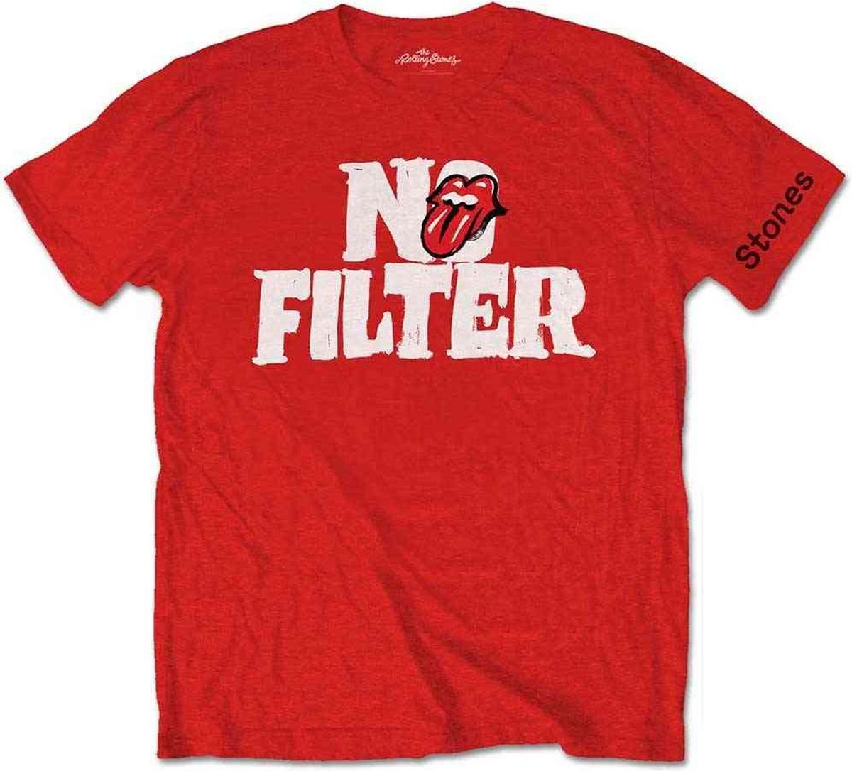 Rolling Stones Heren Tshirt -S- No Filter Header Logo Rood