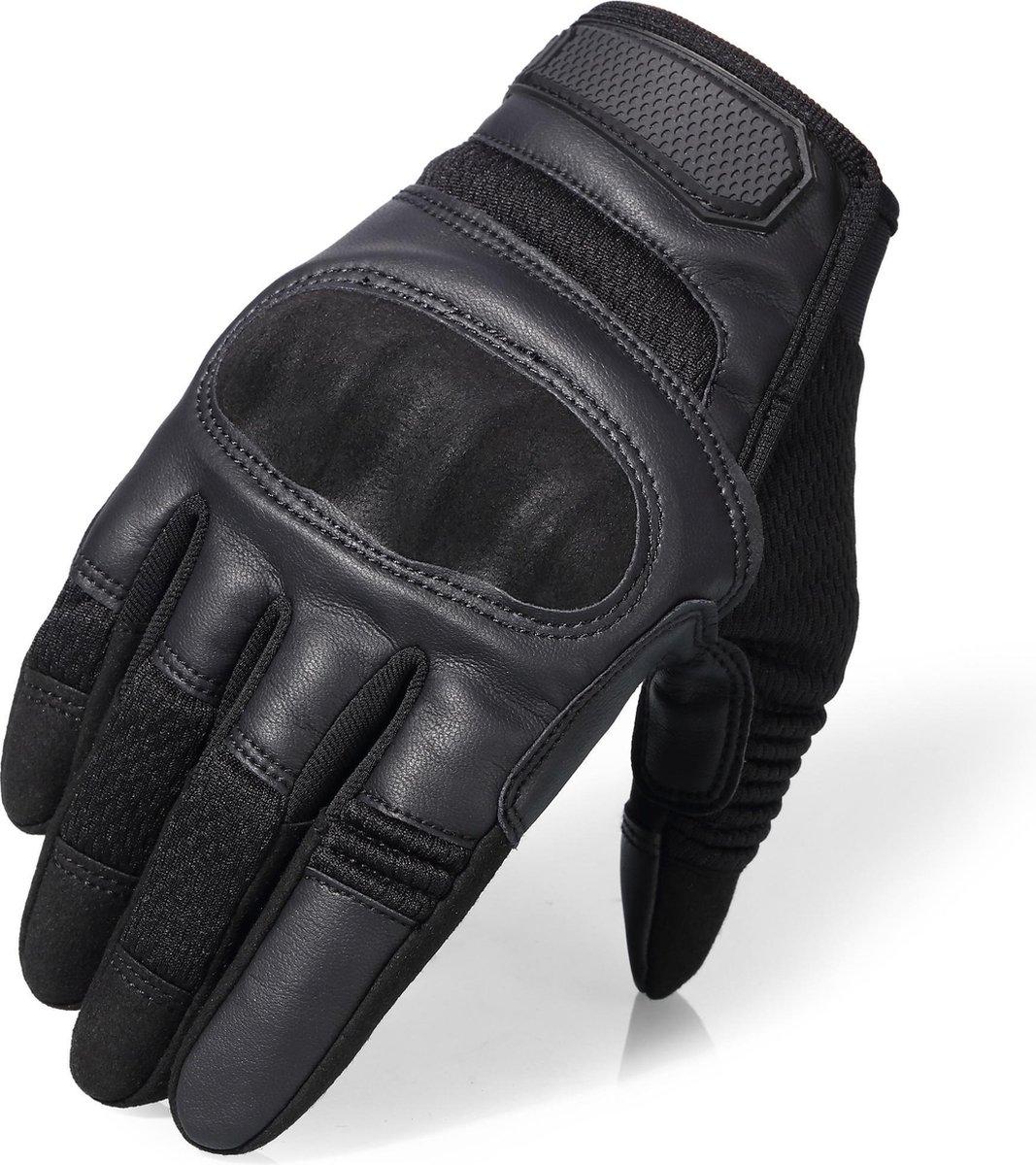 Ademende Motorhandschoenen - Zwart - PU Leer - Handschoenen Motor - Maat L - Touchscreen - Beschermi