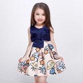 Meisjes jurk blauw gebloemd | Prachtig Elegante Feestjurk Crème Bloemenprint |Klassieke jurk | Blauwe top met blauw strik - bow | mouwloos | Maat 98/104 (3-4 jaar)