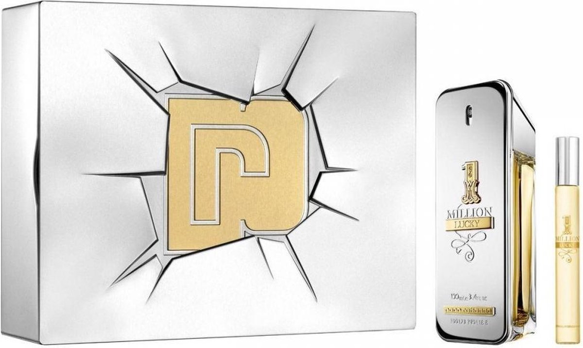 Paco Rabanne 1 Million Lucky Giftset - 100 ml eau de toilette spray + 10 ml eau de toilette tasspray - cadeauset voor heren - Paco Rabanne