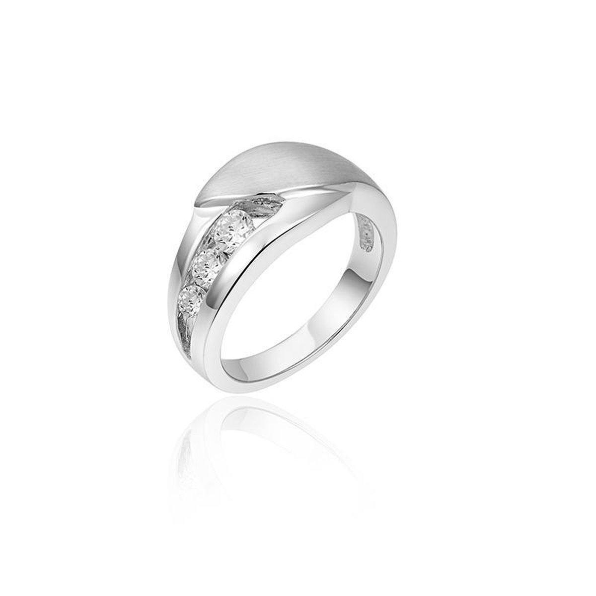 Jewels Inc. - Ring - Fantasie gezet met Zirkonia Stenen - 9mm Breed - Maat 58 - Gerhodineerd Zilver 925