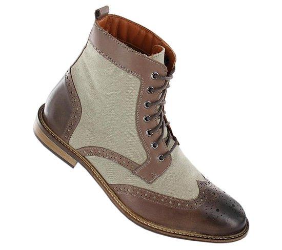 19V69 ITALIA Heren Business Laarzen Boots Schoenen Grijs-Bruin V60-C192 - Maat EU 43 UK 9